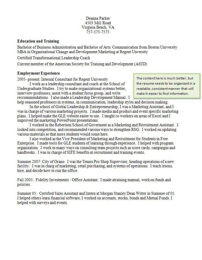 Resume Writing   Student Services at Regent University