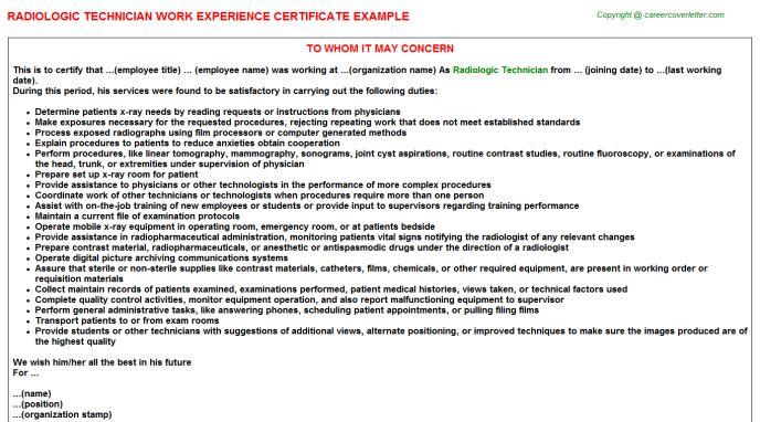Radiologic Technician Work Experience Certificate