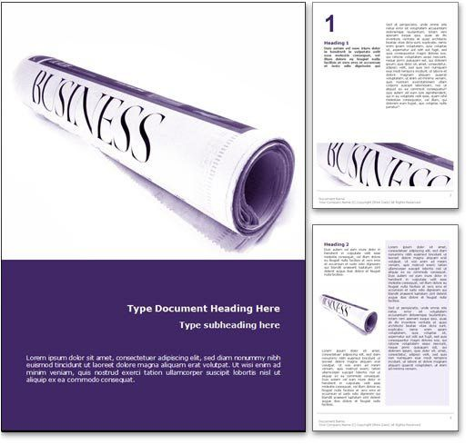 Royalty Free Business News Microsoft Word Template In Purple
