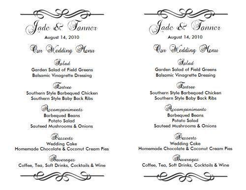 Wedding Menu Template | Lesley & Bruno - July 20, 2013 | Pinterest ...