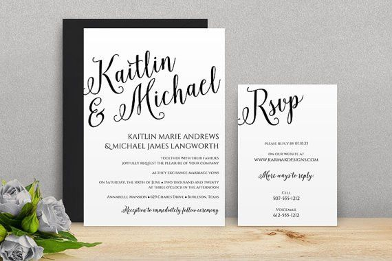 You Can Change The Color! DiY Wedding Invitation Template ...