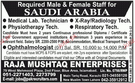 Medical Lab Technicians, Physiotherapy Job Opportunity 2017 Jobs ...