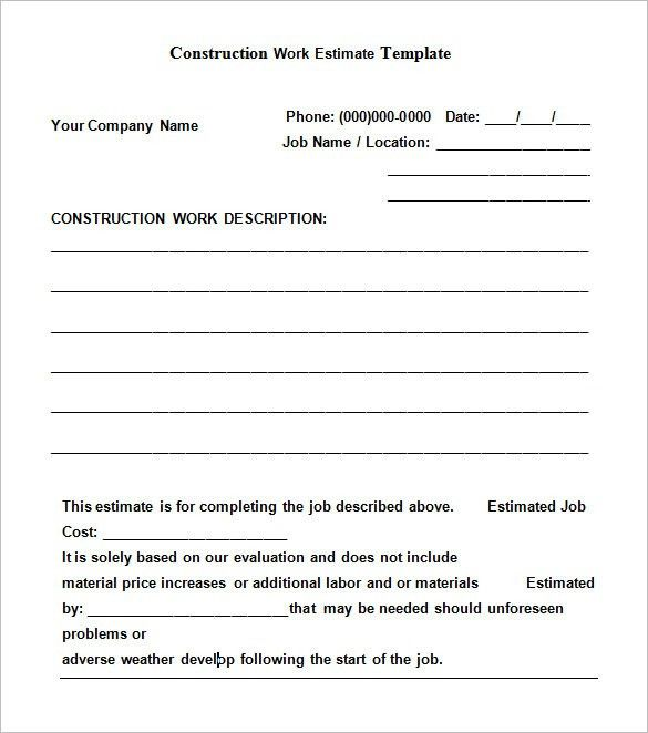 5+ Construction Estimate Templates – Free Word, Excel & PDF ...