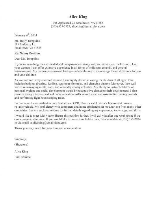 nanny cover letter