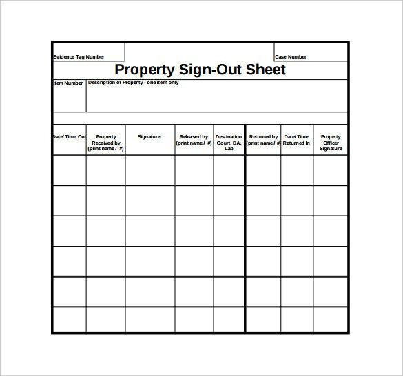 Sign Out Sheet Template - 9+ Free Word, PDF Documents Download ...