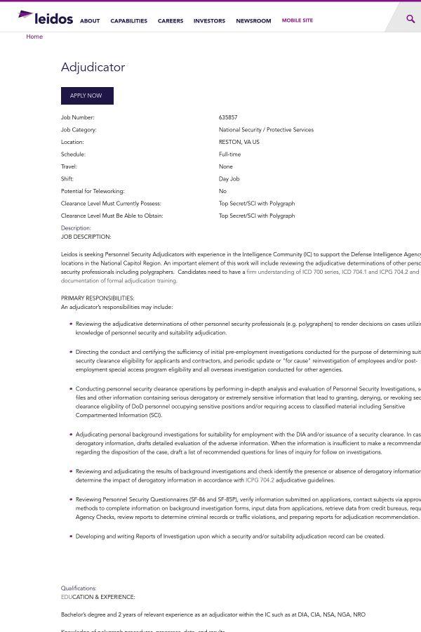 Adjudicator job at Leidos in Reston, VA | Tapwage Job Search