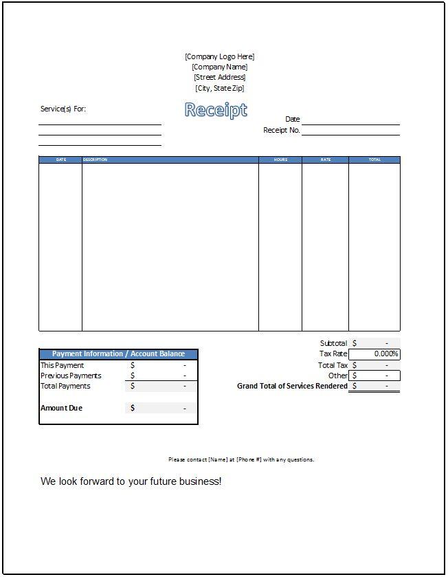 Service Receipt Template - Spreadsheetshoppe