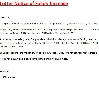 Pay Increase Letter | emailfaxreview.com