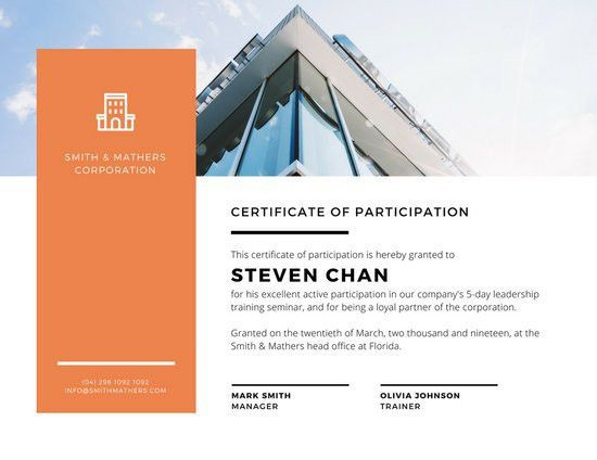 Orange & White Corporate Certificate of Participation - Templates ...