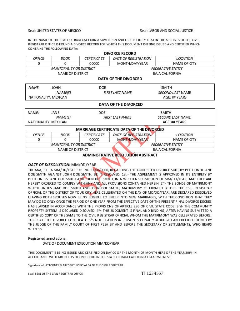 DIVORCE DECREE TRANSLATION PDF