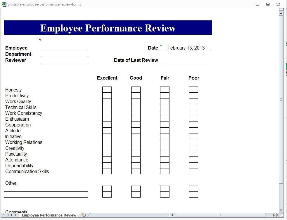 employee performance review forms templates