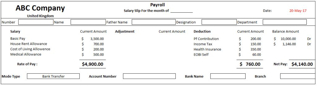 Employee Payslip Template Free Download For Excel