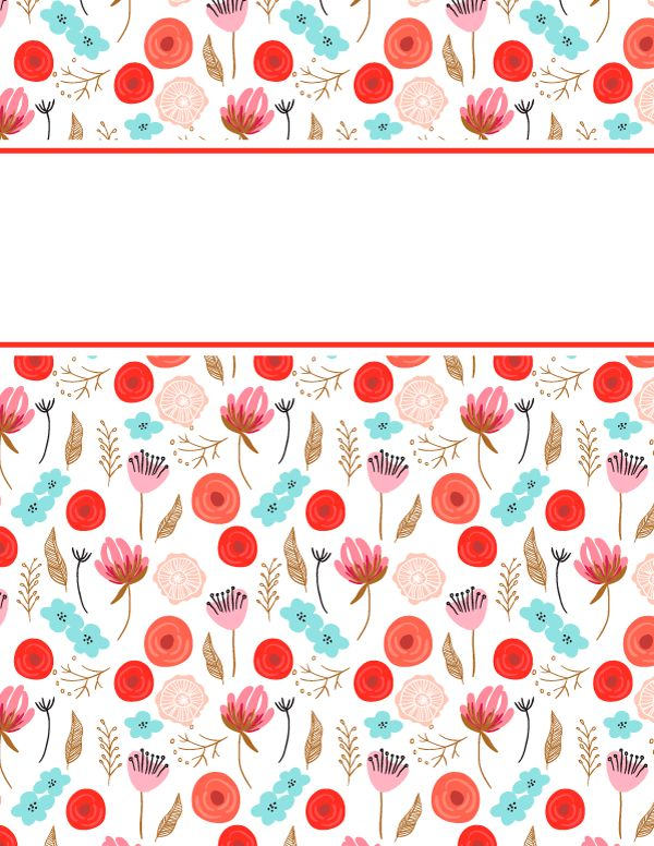 Free printable floral binder cover template. Download the cover in ...