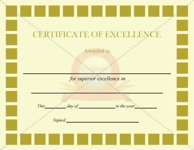 Excellence Certificate Olive Squares Template | CERTIFICATE OF ...