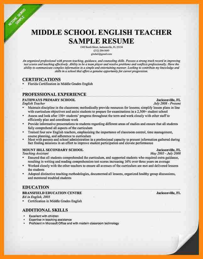 example english teacher resume cv style. professional resume ...