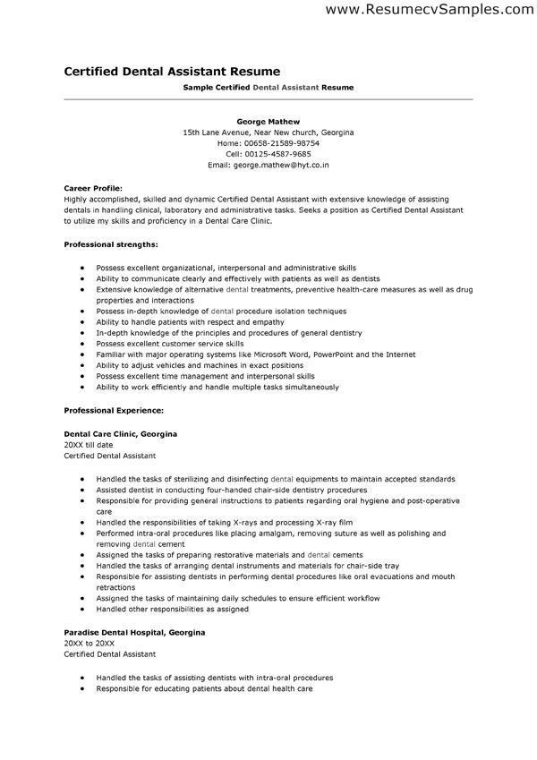 Dental Assistant Student Resume Entry Level