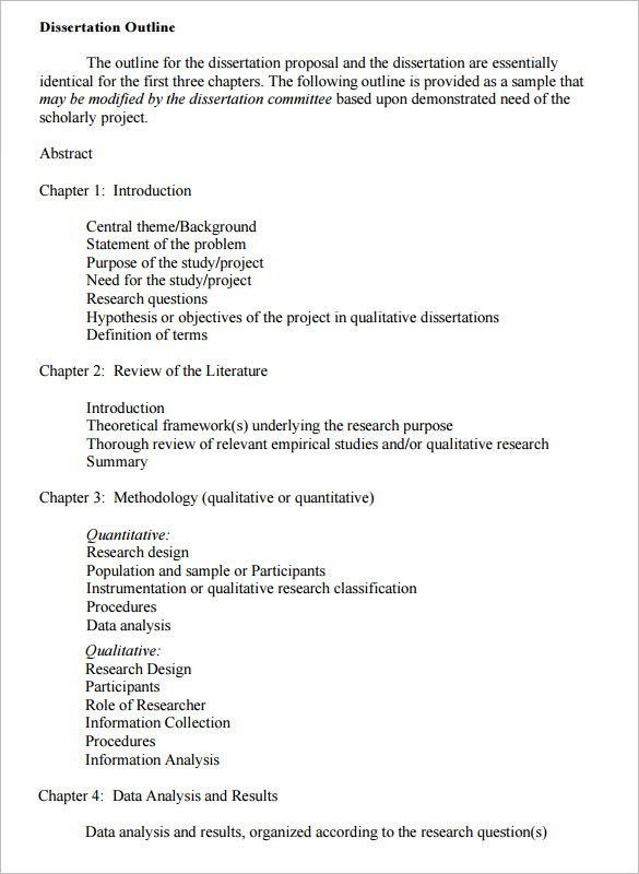 Dissertation Outline Template – 10+ Free Sample, Example, Format ...