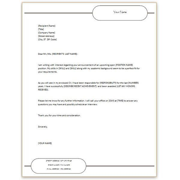 quick cover letter template sample of sales plan simple resume ...