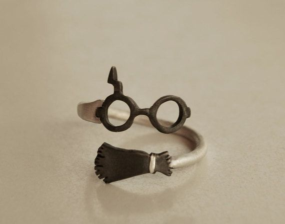 Wrap Ring Harry Potter Inspired Jewelry Sterling Silver 925 Wizard Witche's Broom and Glasses and Lightning Scar Ring Geek Ring Fashion Ring