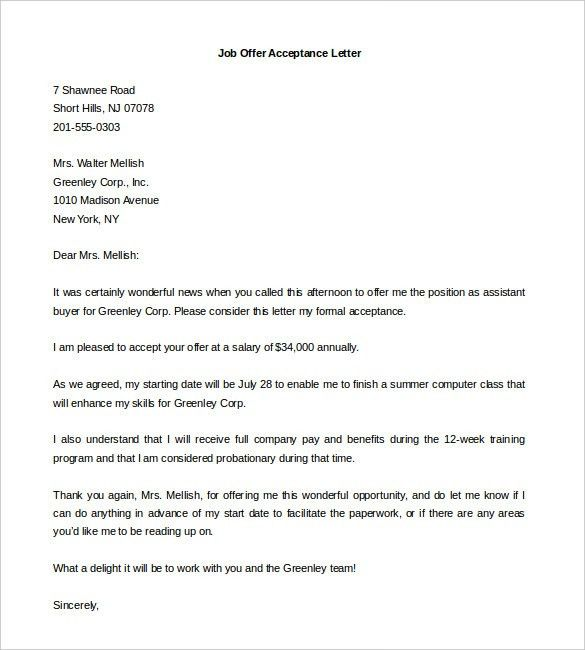 Offer Letter Template - 8+ Free Word, PDF Documents Download ...