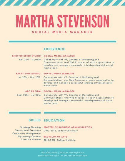 Coral and Teal Striped Colorful Resume - Templates by Canva