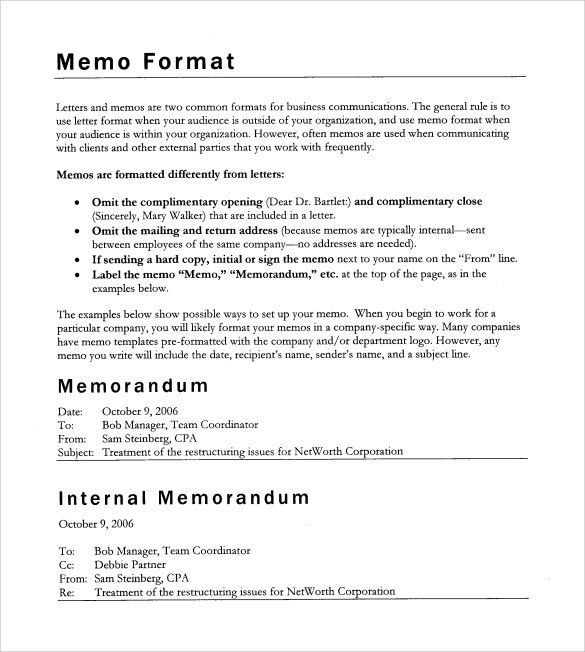 Sample Executive Memo Template. 8+ Business Memo Format | Resume ...
