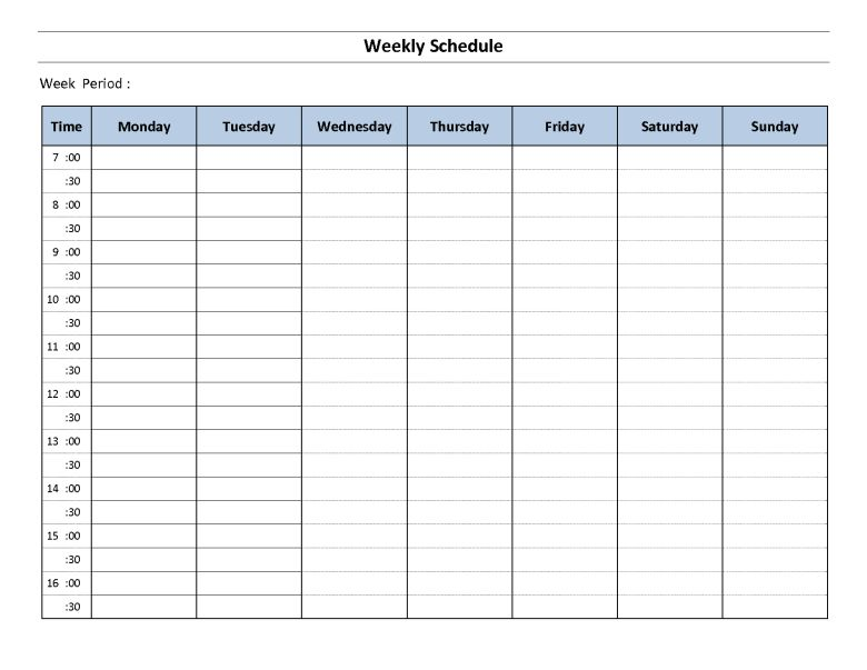Top 5 Resources To Get Free Weekly Schedule Templates - Word ...