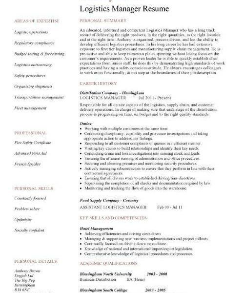 100+ [ Logistic Manager Resume ] | Warehouse Manager Resume ...
