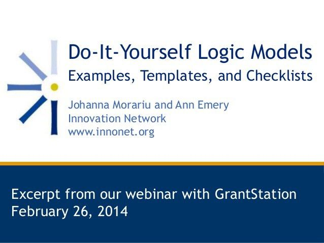 Do-It-Yourself Logic Models: Examples, Templates, and Checklists