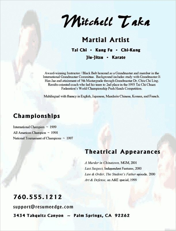 Creative Resume Sample - Martial Arts Instructor