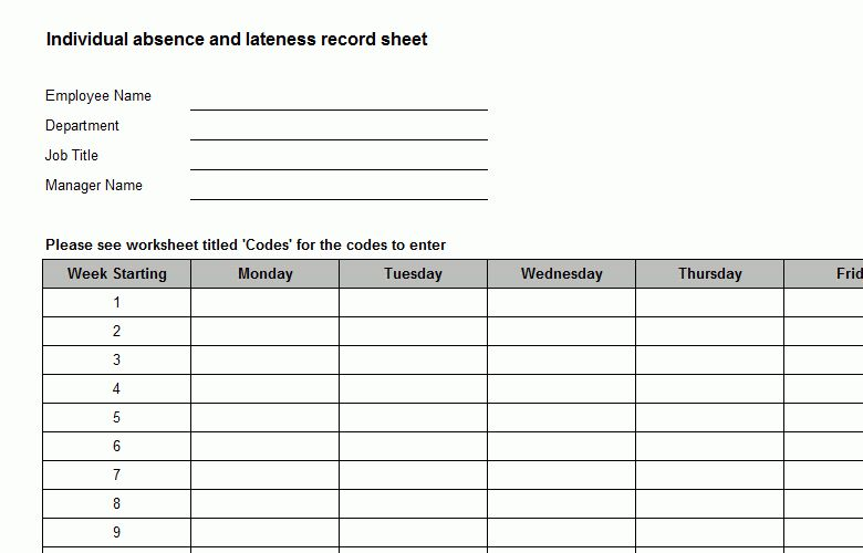 Absence or Lateness Record Sheet Template - Bizorb