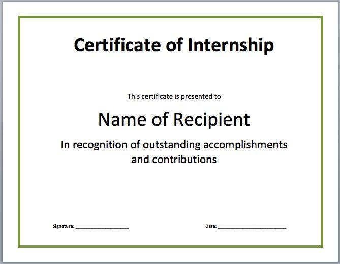 Internship Certificate Template | Microsoft Word Templates