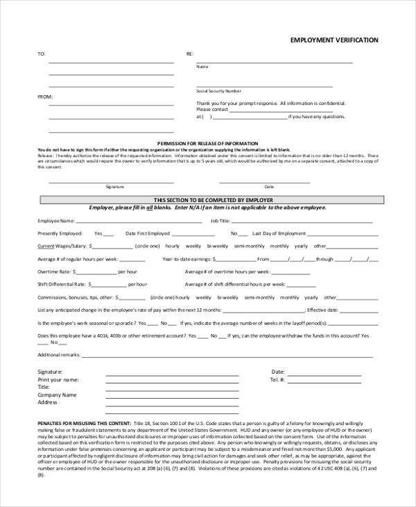 Verification Form Templates
