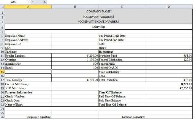 Free Download Salary Slip Template in Excel Format with Blank ...