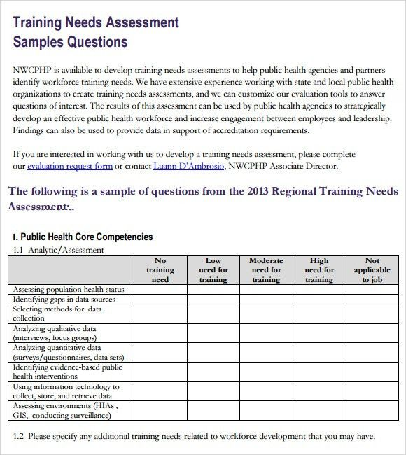 Assessment Sample. Sample Needs Assessment Survey Template Sample ...