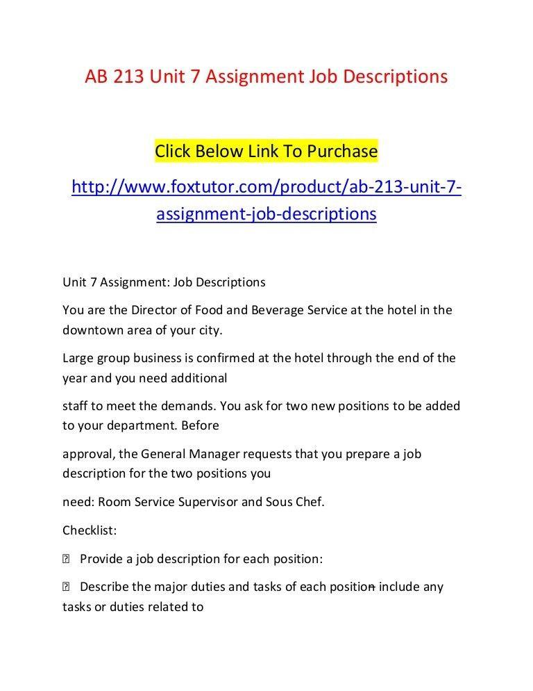 Ab 213 unit 7 assignment job descriptions