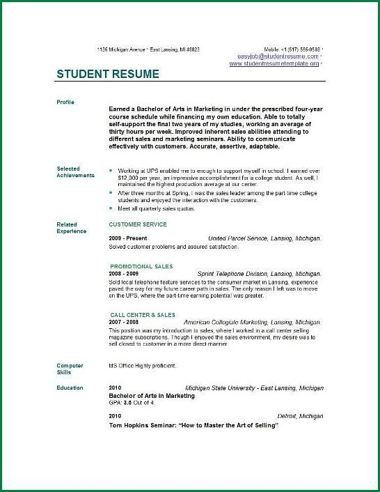 6 Resume Format For College Students With No Experience ...