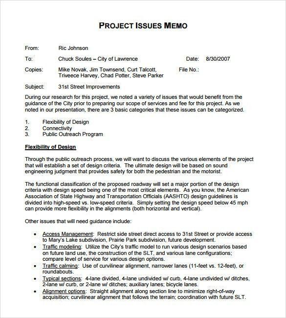 Project Memo Template Company Memo Template 10 Free Word Pdf – Sample Company Memo