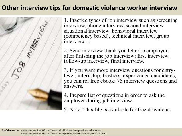 Top 10 domestic violence worker interview questions and answers
