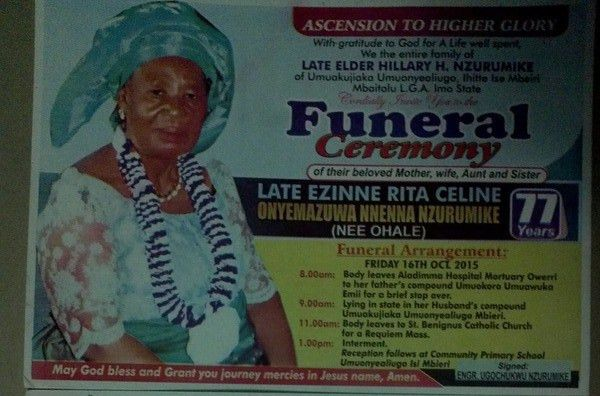 Invitation: Funeral Ceremony of our Deputy National Chairman's Mother