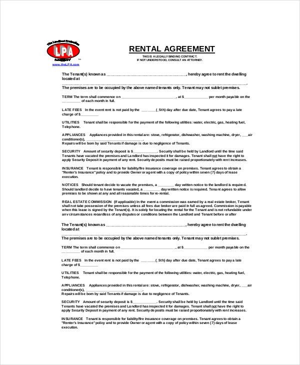 Blank Rental Agreement – 9+ Free Word, PDF Documents Download ...