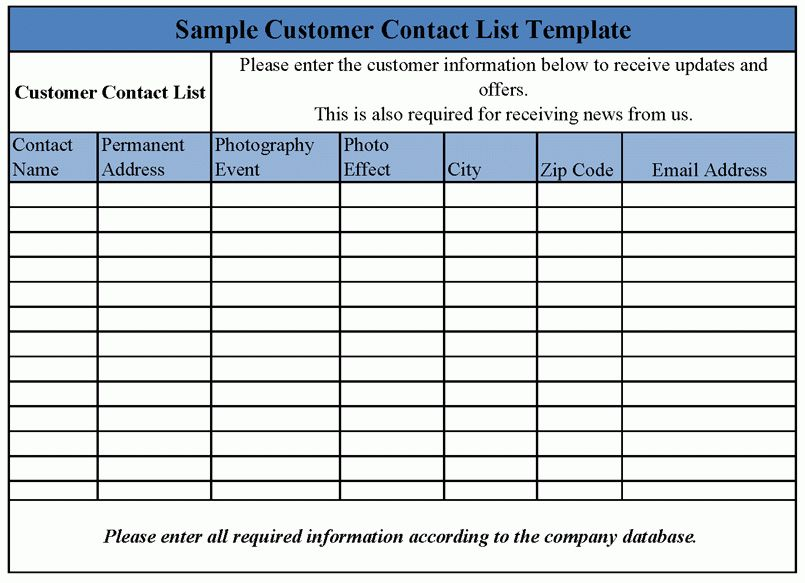 Good Business Contact List Template Word For Information : Vlcpeque