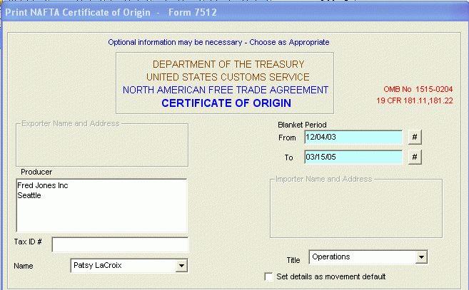 Freightdata U.S. Documents - NAFTA Certificate of Origin Form 7512
