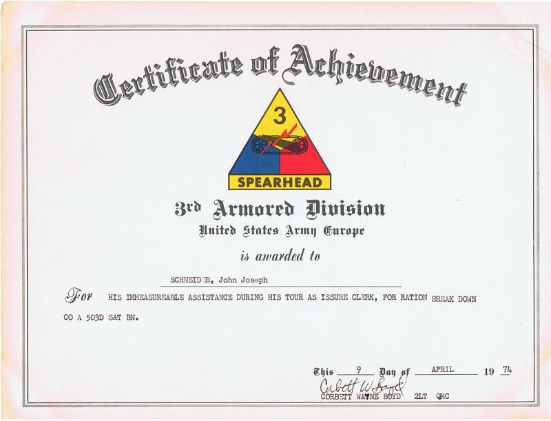 Army certificate of achievement template army certificate of certificate of achievement 3rd armored division us army europe yadclub Gallery