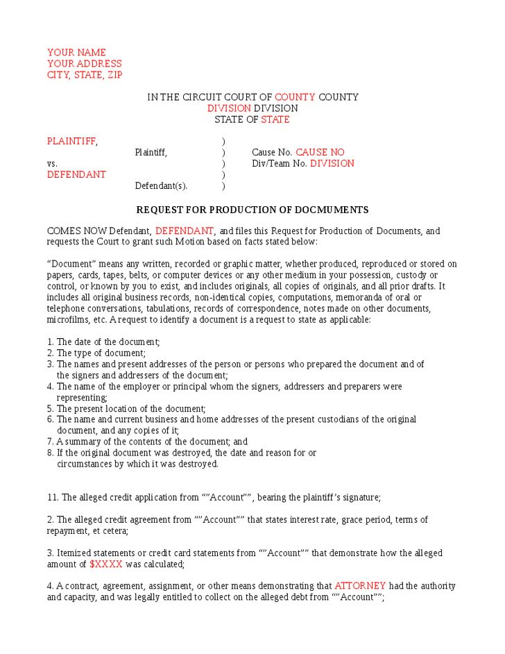 Defendant's Request For Production Of Documents - Hashdoc
