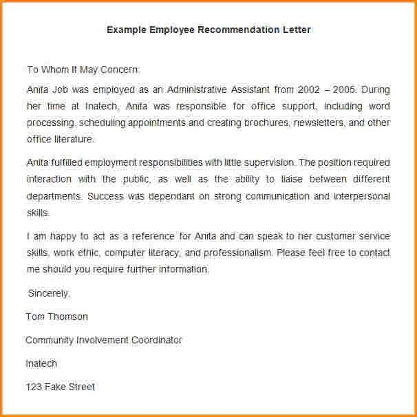 11+ letter of recommendation example for employee | receipts template