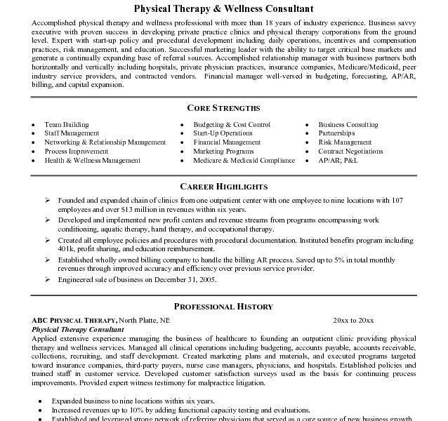 physical therapy resume samples