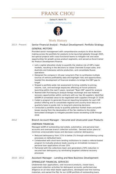 Senior Financial Analyst CV Örneği - VisualCV Özgeçmiş Örnekleri ...