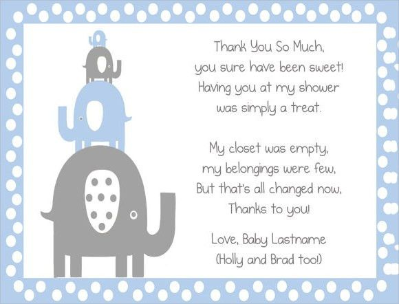 Thank You Letter Baby Shower. Baby Shower Thank You Note Card ...