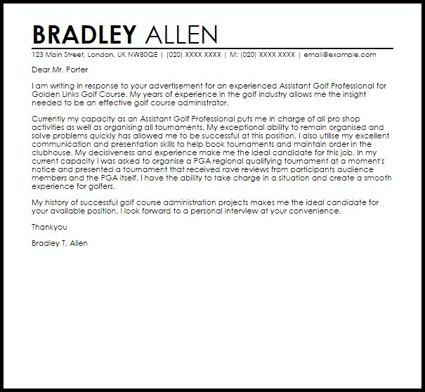 Assistant Golf Professional Cover Letter Sample | LiveCareer